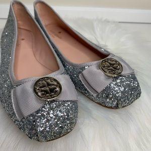 Kate Spade silver glitter ballet flats